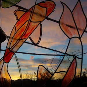 Sunrise with stained-glass fish