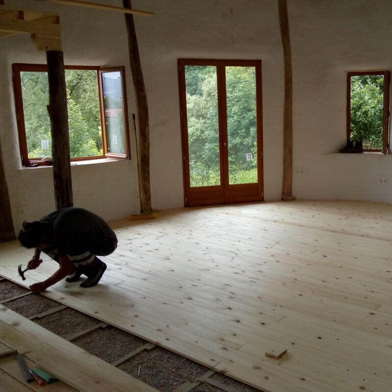 alberto nailing floorboards