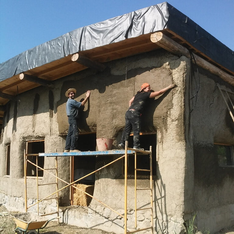 cob plastering ext w house